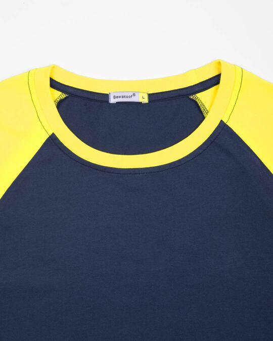Shop Galaxy Blue-Pineapple Yellow Half Sleeve Raglan T-Shirt