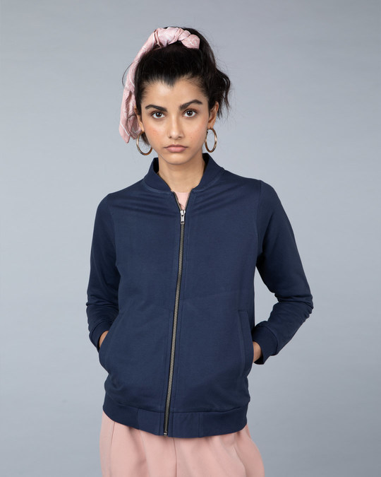 Shop Galaxy Blue Plain Zipper Bomber Jacket-Back
