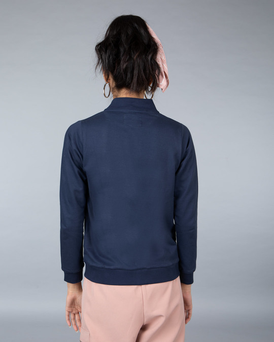 Shop Galaxy Blue Plain Zipper Bomber Jacket-Full