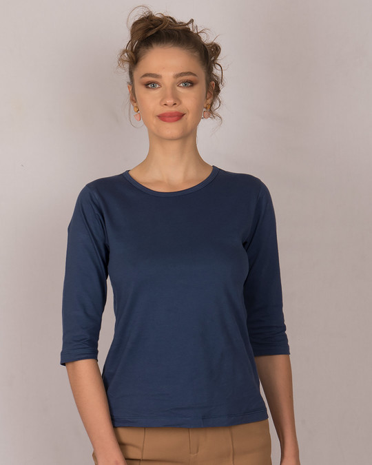 Shop Galaxy Blue Round Neck 3/4th Sleeve T-Shirt-Front