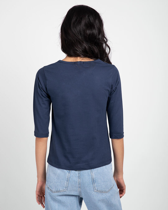 Shop Galaxy Blue Round Neck 3/4th Sleeve T-Shirt-Full
