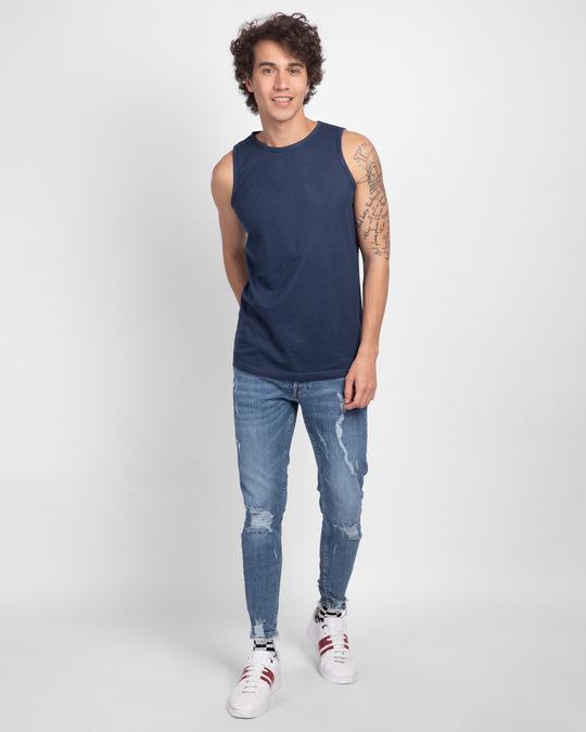 Shop Galaxy Blue Round Neck Vest-Full