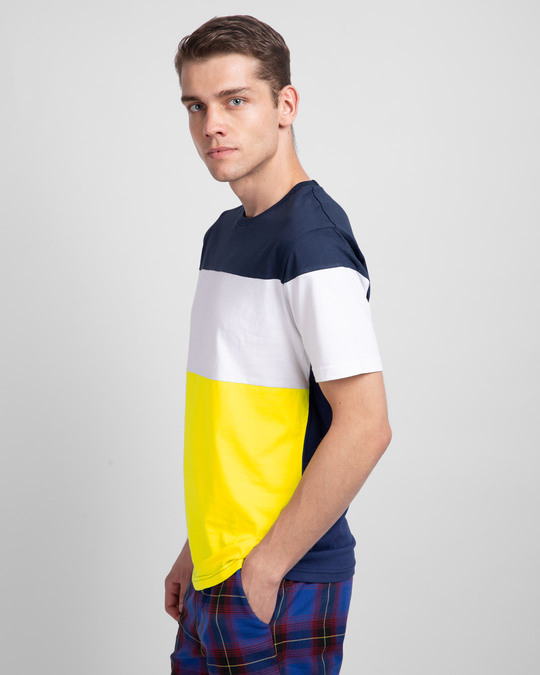 Shop Galaxy Blue White & Pineapple Yellow 90's Vibe Panel T-Shirt-Back