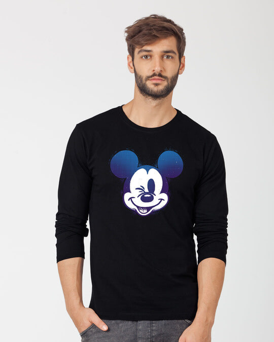 Shop Galaxy Mickey Full Sleeve T-Shirt (DL)-Front