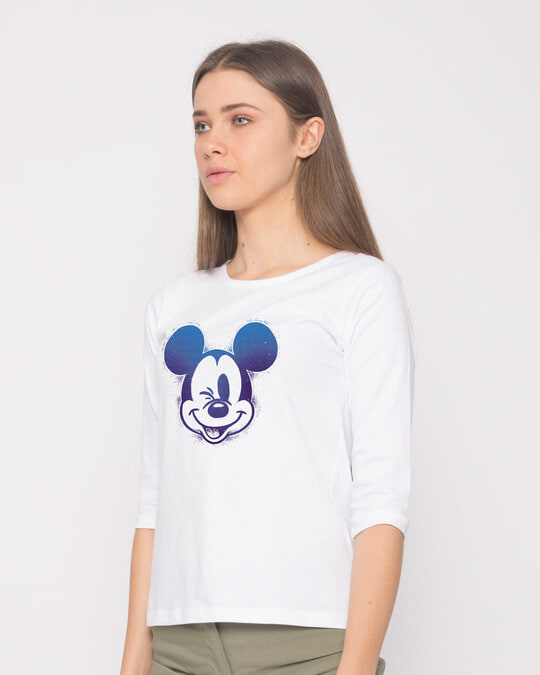 Shop Galaxy Mickey Round Neck 3/4th Sleeve T-Shirt (DL)-Back