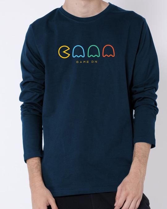 Shop Game on Monster Full Sleeve T-Shirt Navy Blue-Front