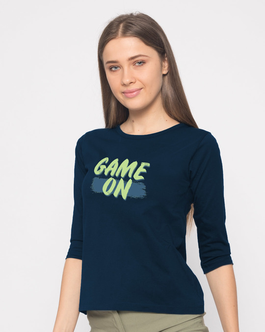 Shop Game On Neon Round Neck 3/4th Sleeve T-Shirt-Back