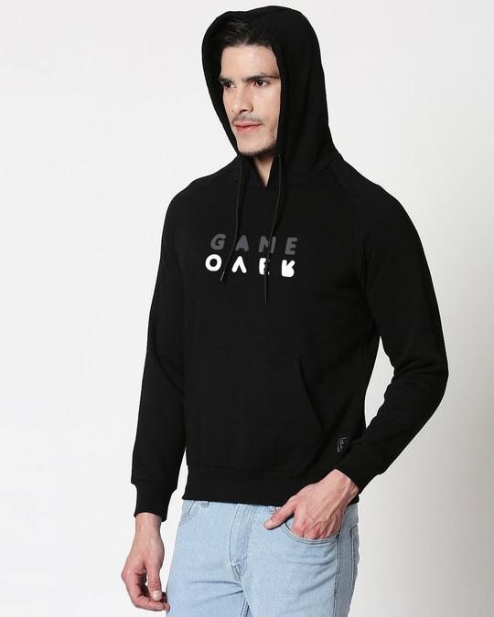 Shop Game Over Minimal Hoodie Sweatshirt Black-Back