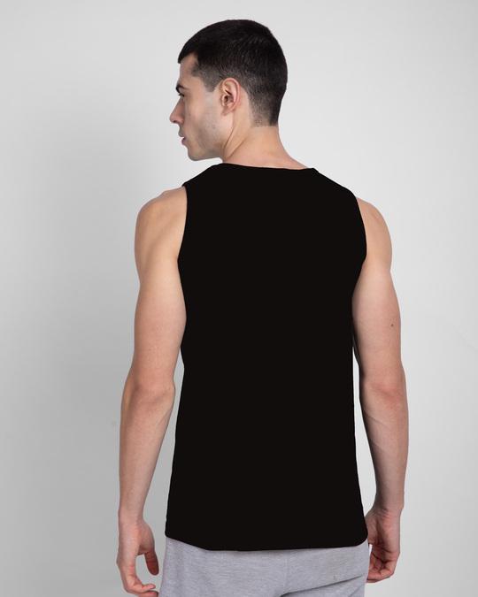 Shop Game Over Minimal Round Neck Vest Black-Back