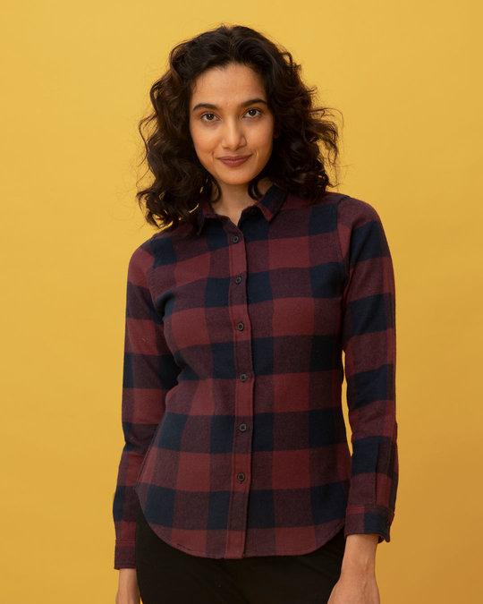 Shop Garnet Red Check Slim Shirt-Front