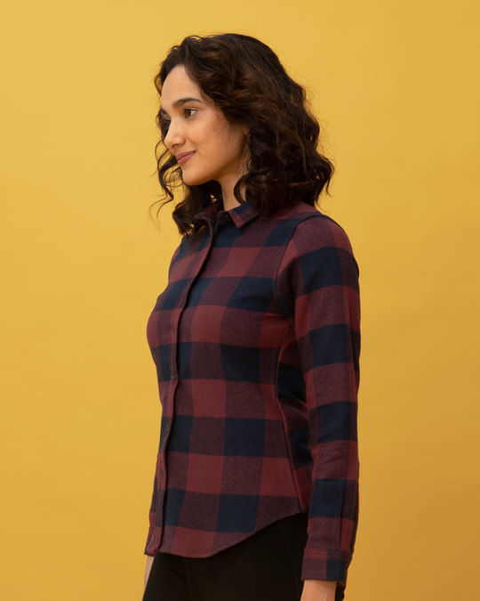Shop Garnet Red Check Slim Shirt-Back