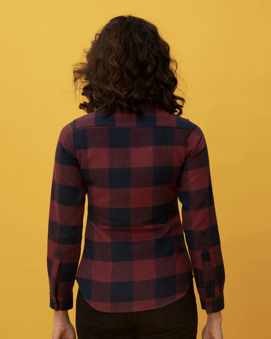 Shop Garnet Red Check Slim Shirt-Full