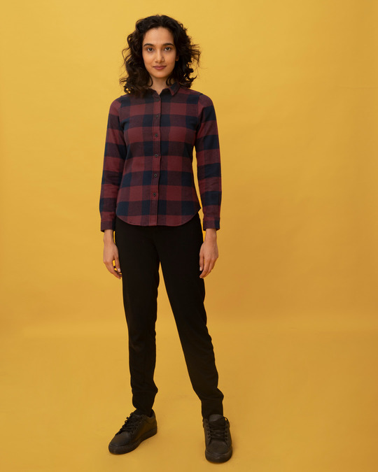 Shop Garnet Red Check Slim Shirt