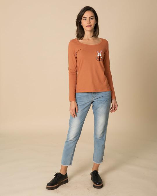 Shop Geek Bunny Pocket Scoop Neck Full Sleeve T-Shirt-Full