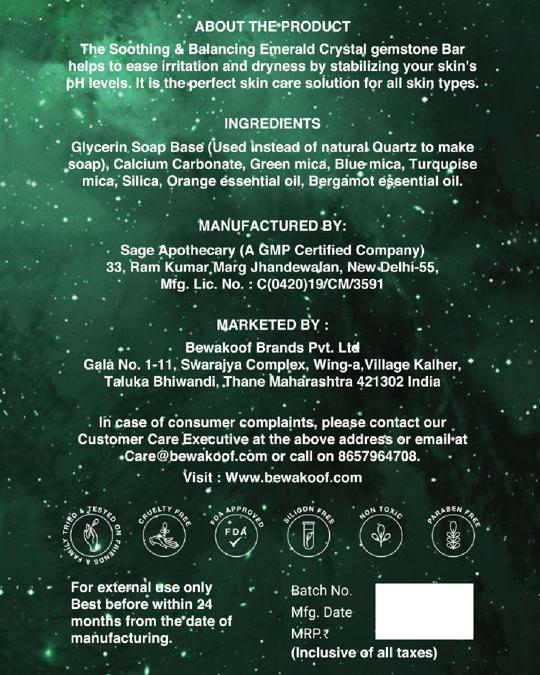 Shop Gemstone Bar Emerald Crystal Balancing & Soothing 160gm-Design