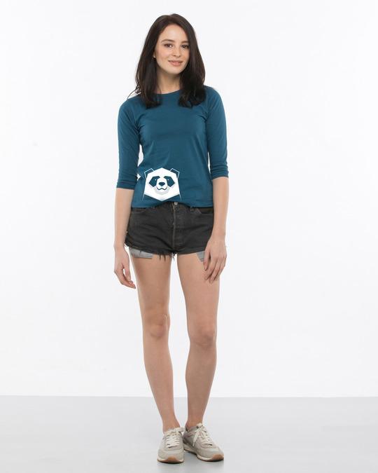 Shop Geometric Panda Round Neck 3/4th Sleeve T-Shirt-Design