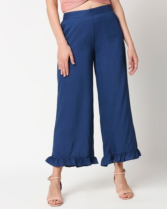 Shop Women's Solid Palazzo with frill-Front