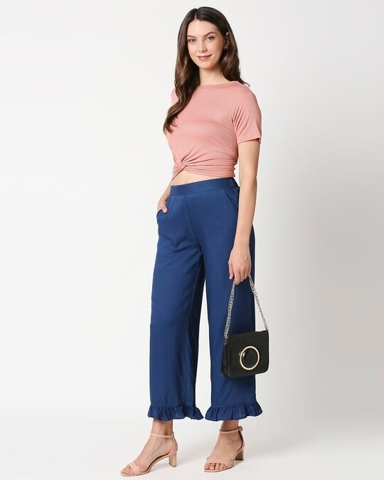 Shop Women's Solid Palazzo with frill