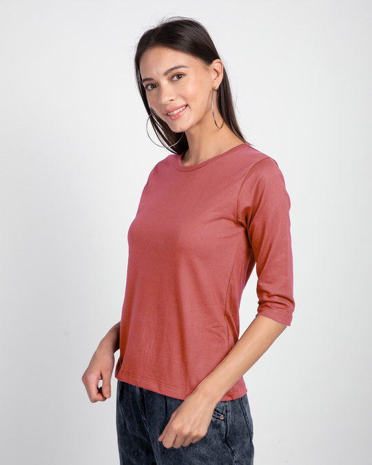 Shop Ginger Spice Round Neck 3/4th Sleeve T-Shirt-Back