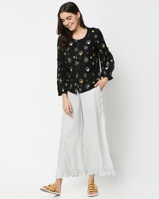 Shop Women's Ethnic Palazzo with Frill at Hem-Full
