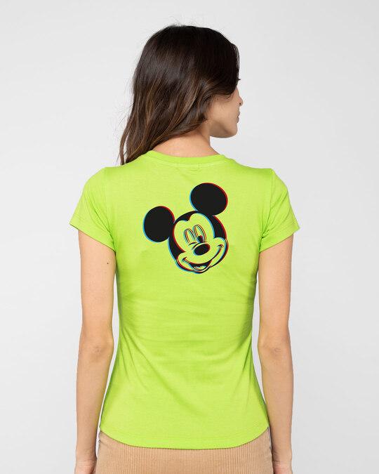 Shop Glitch Mickey Half Sleeve Printed T-Shirt Neon Green (DL)-Design