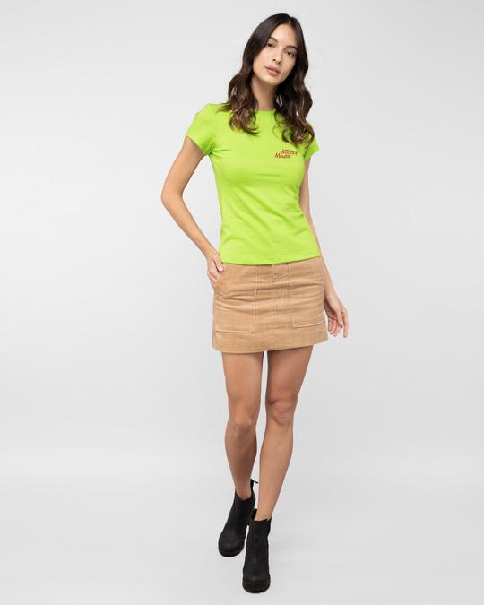 Shop Glitch Mickey Half Sleeve Printed T-Shirt Neon Green (DL)-Full