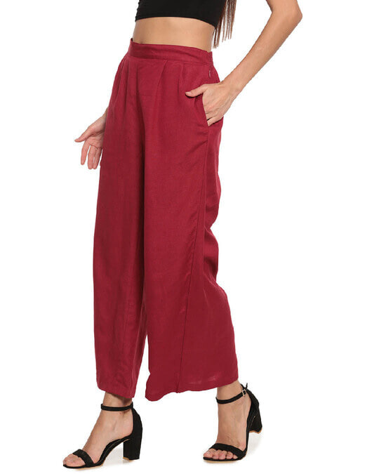 Shop Go Colors Light Maroon Linen Palazzo-Back