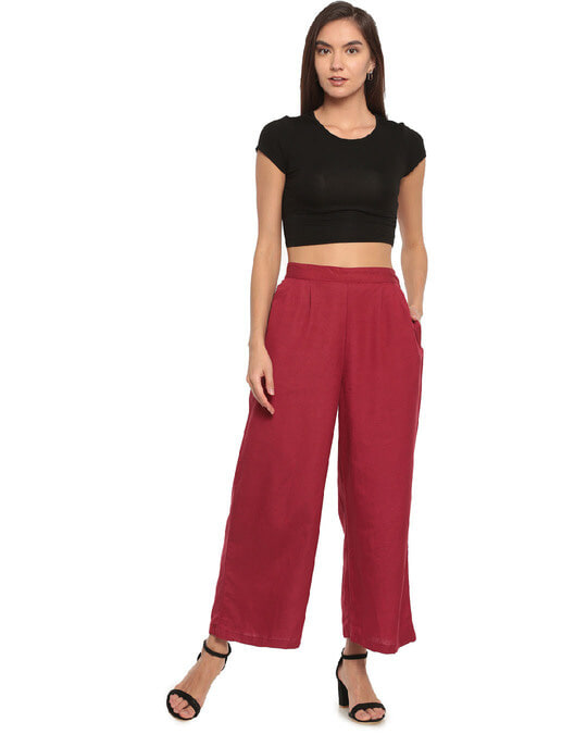 Shop Go Colors Light Maroon Linen Palazzo-Full