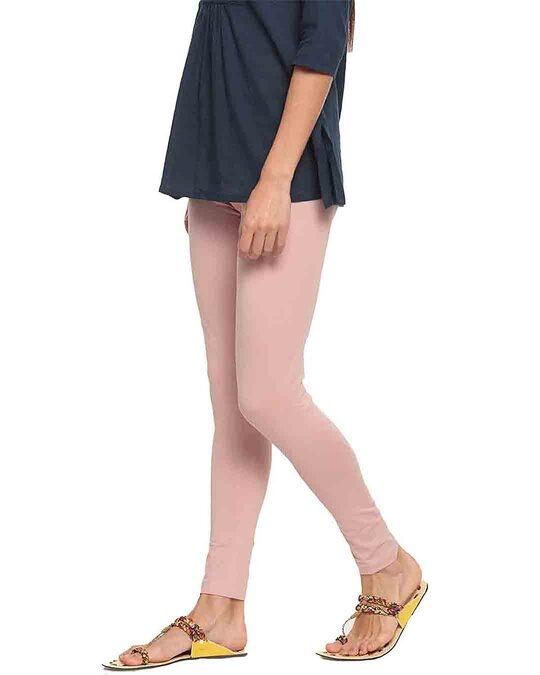 Shop Go Colors Baby Pink Ankle Length Legging-Back