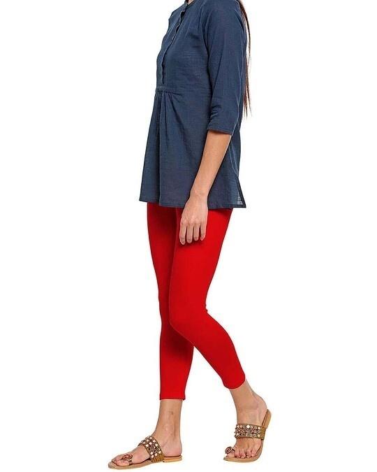 Shop Go Colors Women Dark Red 7/8 Legging-Back