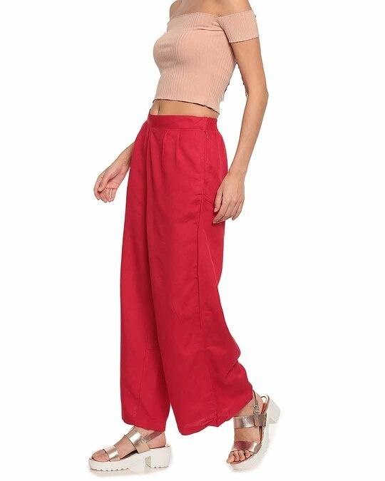 Shop Go Colors Women Dark Red Solid Ethnic Linen Palazzo-Back