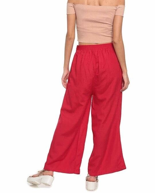 Shop Go Colors Women Dark Red Solid Ethnic Linen Palazzo-Design