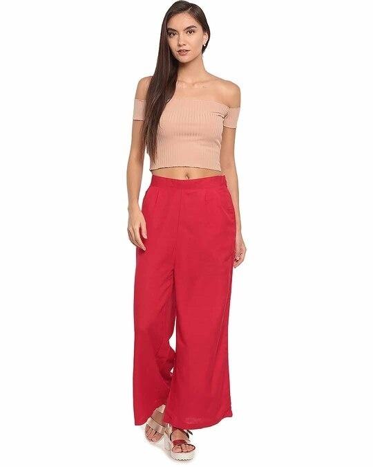 Shop Go Colors Women Dark Red Solid Ethnic Linen Palazzo-Full
