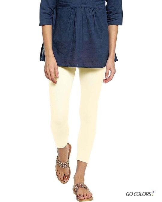 Shop Go Colors Women Ecru 7/8 Legging-Front