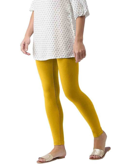 Shop Go Colors Light Mustard Ankle Length Legging-Back