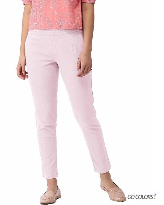 Shop Go Colors Pink Mist Denim Jeggings-Front