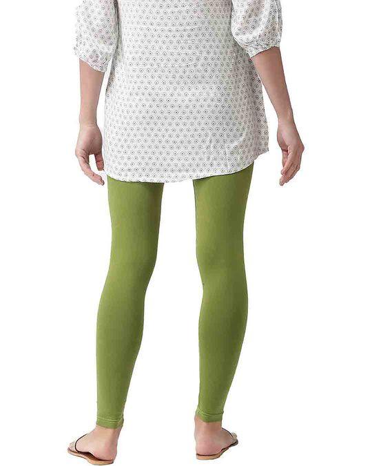 Shop Go Colors Pista Green Ankle Length Legging-Design