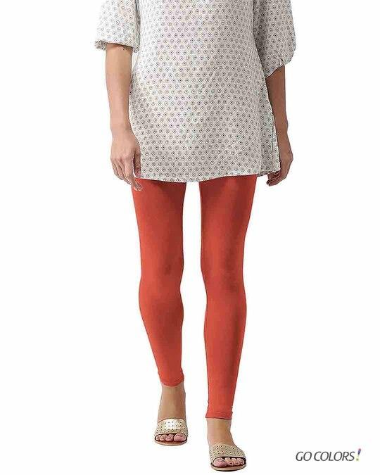 Shop Go Colors Rust Ankle Length Legging-Front