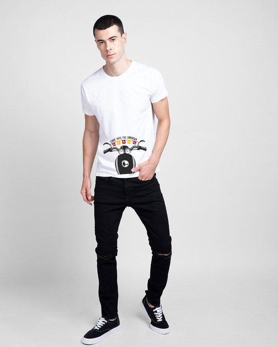 Shop Go Into The Unknown Half Sleeve T-Shirt White-Full