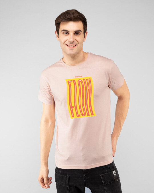 Shop Go With The Flow Wave  Half Sleeve T-Shirt Baby Pink-Front