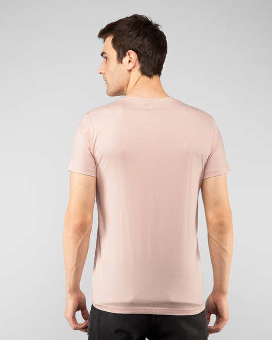 Shop Go With The Flow Wave  Half Sleeve T-Shirt Baby Pink-Back