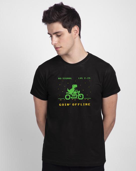 Shop Goin Offline Half Sleeve T-Shirt Black-Front
