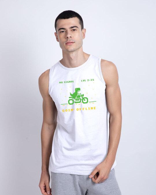 Shop Goin Offline Round Neck Vest White-Front