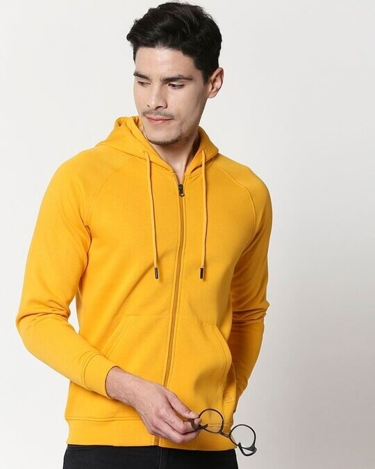 Shop Golden Yellow Zipper Hoodie-Front