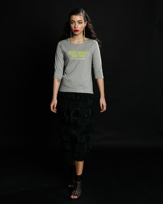 Shop Good Things Round Neck 3/4th Sleeve T-Shirt