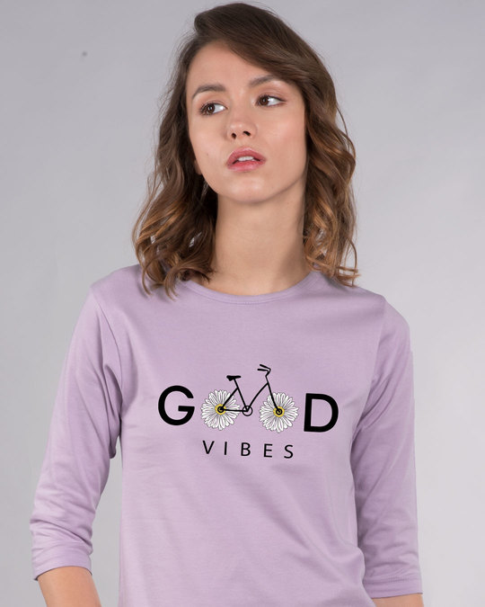 Shop Good Vibes Bicycle Round Neck 3/4th Sleeve T-Shirt-Front