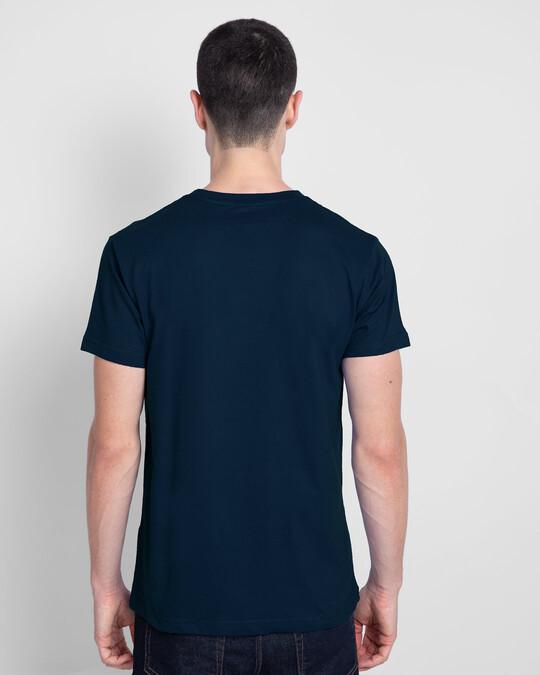 Shop Good Vibes Pastel Hlaf Sleeve T-Shirt Navy Blue-Back