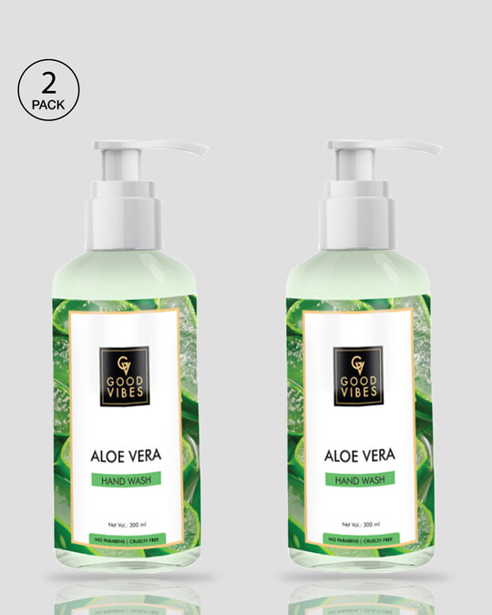 Shop Good Vibes Hand Wash - Aloe Vera (300 ml) Pack Of 2-Front