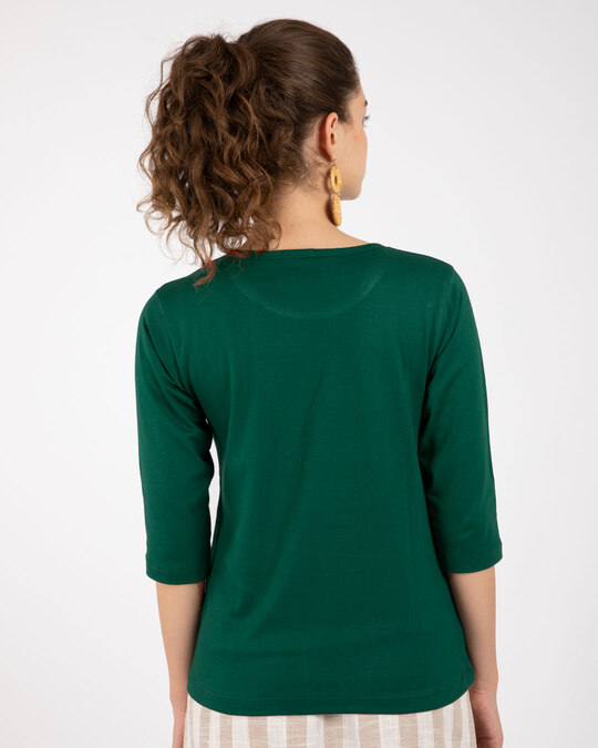 Shop Good Vibes Repeat Round Neck 3/4th Sleeve T-Shirt-Back