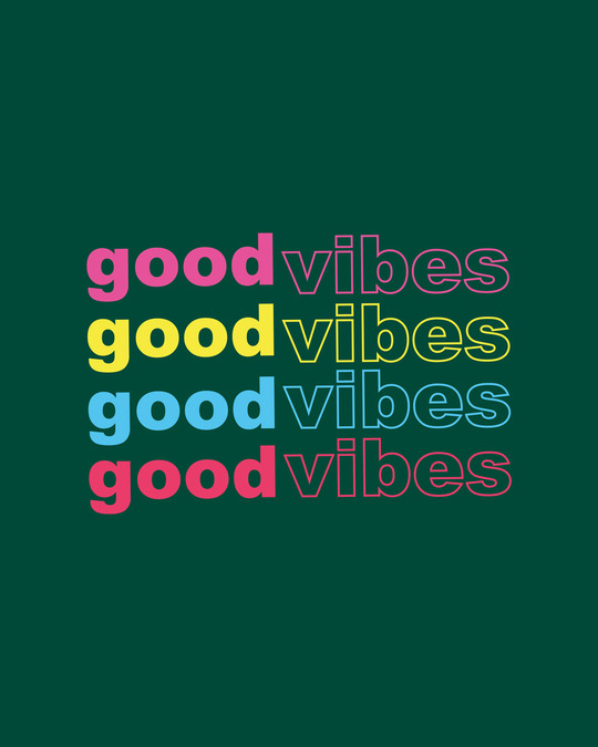 Shop Good Vibes Repeat Round Neck 3/4th Sleeve T-Shirt